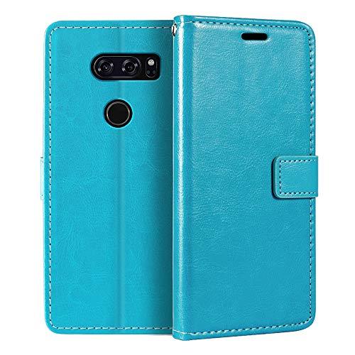 Capa carteira para LG V30, capa flip magnética de couro sintético premium com suporte para cartão e suporte para LG V30 Plus