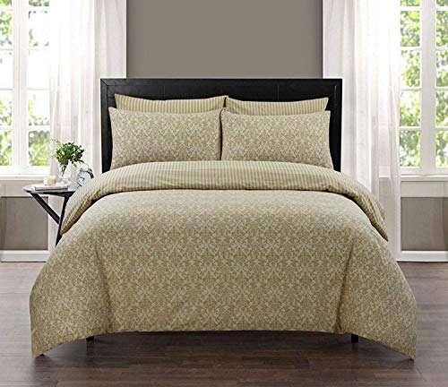 Indus Textiles 100% Pure Cotton Reversible Patterned Duvet Cover Sets Balia Eggshell, Double