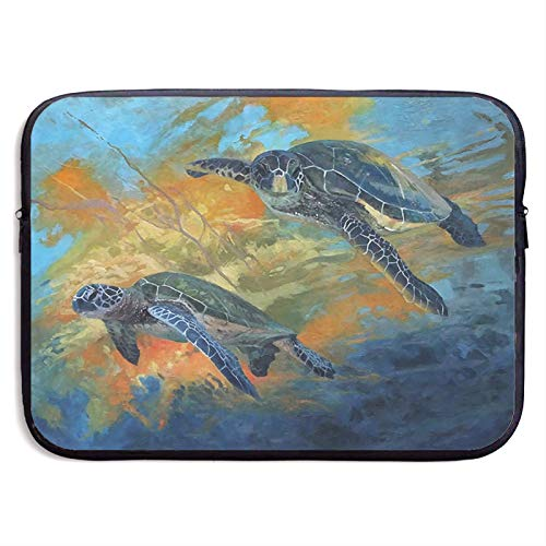 Laptop Sleeve Case Cover Bag, Computer Travel Pocket Pouch Handbag Compatible, Portable Tablet Slipcases Carry Bag for MacBook/HP/Acer/Asus/Dell Underwater Sea Turtle