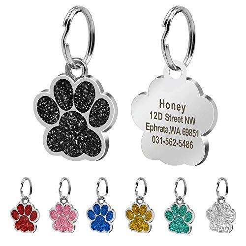 """Beirui ID-Tags für Hunde und Katzen, Pfotenabdruckmotiv, personalisierbar mit Laser-Gravur, 24 mm, Edelstahl, Schwarz, S (0,9\""""Durchmesser)"""