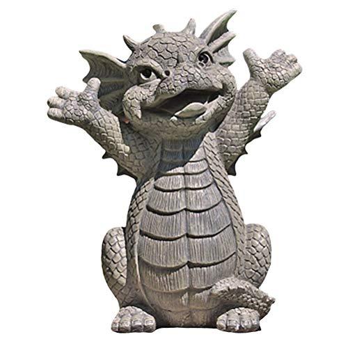 Mify Estatua meditada de dragón de jardín de resina para coleccionar adornos al aire libre, decoración de patio para jardín, patio, porche, decoración de hogar, patio, césped