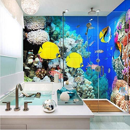 Pbbzl Adhesivo De Baño Autoadhesivo Personalizado Mural 3D Peces Trop