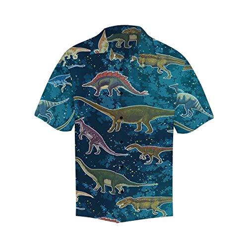 InterestPrint Button Closure Short Sleeve Hawaiian Shirt for Men Dinosaurs Cartoon Collection on Starry Forest L