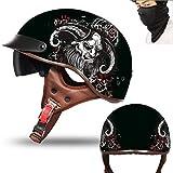 MTTKTTBD Casco semicasco para motocicleta, casco semiintegral, casco de moto, scooter, scooter, estilo retro, Harley con visera integrada para Cruiser Chopper Biker