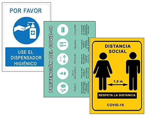 Señalización Coronavirus COVID19 | Señales Dispensador Jabón + Distancia Social + Pautas | Carteles para Empresas, Comercios, Oficinas | Autoinstalable y Resistente a la Intemperie | 21 x 30 cm