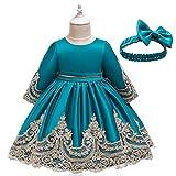 thematys Festliches Kleid Kostüm-Set für Mädchen - perfekt für Fasching, Karneval & besondere Anlässe - 3 Farben & 5 Verschiedene Größen (Blau, Körpergröße 120 cm)
