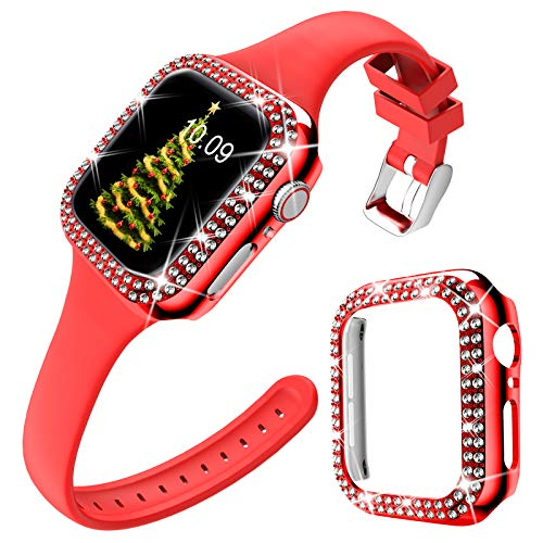 DABAOZA Compatible for Apple Watch Band 40mm with Case, Christmas Soft Silicone Band Thin strap with Bling Dressy Crystal Cover Protective Diamonds Bumper Frame for iWatch SE/Series 6/5/4. (Red, 40mm)