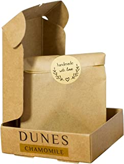 Dunes Chamomile soap, handmade and natural moisturises, lightens scars and works on healing them. Lavender e.o. acts as a ...