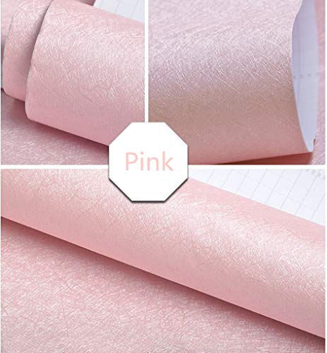 "Pink Wallpaper Embossed Solid Color Contact Paper Decorative Peel and Stick Wallpaper Self Adhesive Removable Wallpaper Wrapping Paper Gift Shelf Paper Liner Vinyl Film for Girls' Room16"" X 118"""