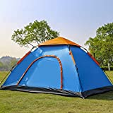 KIYANA Portable Polyester Waterproof 6 Person Picnic Hiking Camping Open Anti-Uv Sunshade Awning Portable Dome Tent with Bag (6 Persons)(Multicolour)