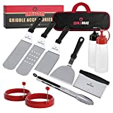 GRILLGOAT Griddle Accessories Kit - 11 Piece Griddle Tool Kit - Stainless Steel Metal Spatula Set, Scraper, Turner, Tongs, Egg Rings and More- Perfect for Blackstone or Hibachi BBQ