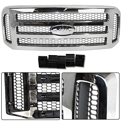 Make Auto Parts Manufacturing New Chrome Grille Assembly with Gray Honey Comb Insert For Ford F250 F350 F450 F550 Super Duty Pickup F-Series 2005 2006 2007 (XLT/Lariat OR Amarillo Models) - FO1200456