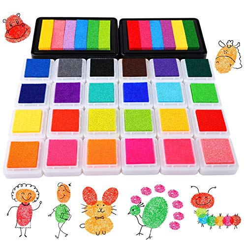 HOWAF 26 Pack Color Ink Pads for Children Craft Scrapbooking, Colourful Ink Pad Set for Kids Stamping Coloured Card Making Fingerprints, Washable Ink Pad Non-Toxic and Safe for Baby