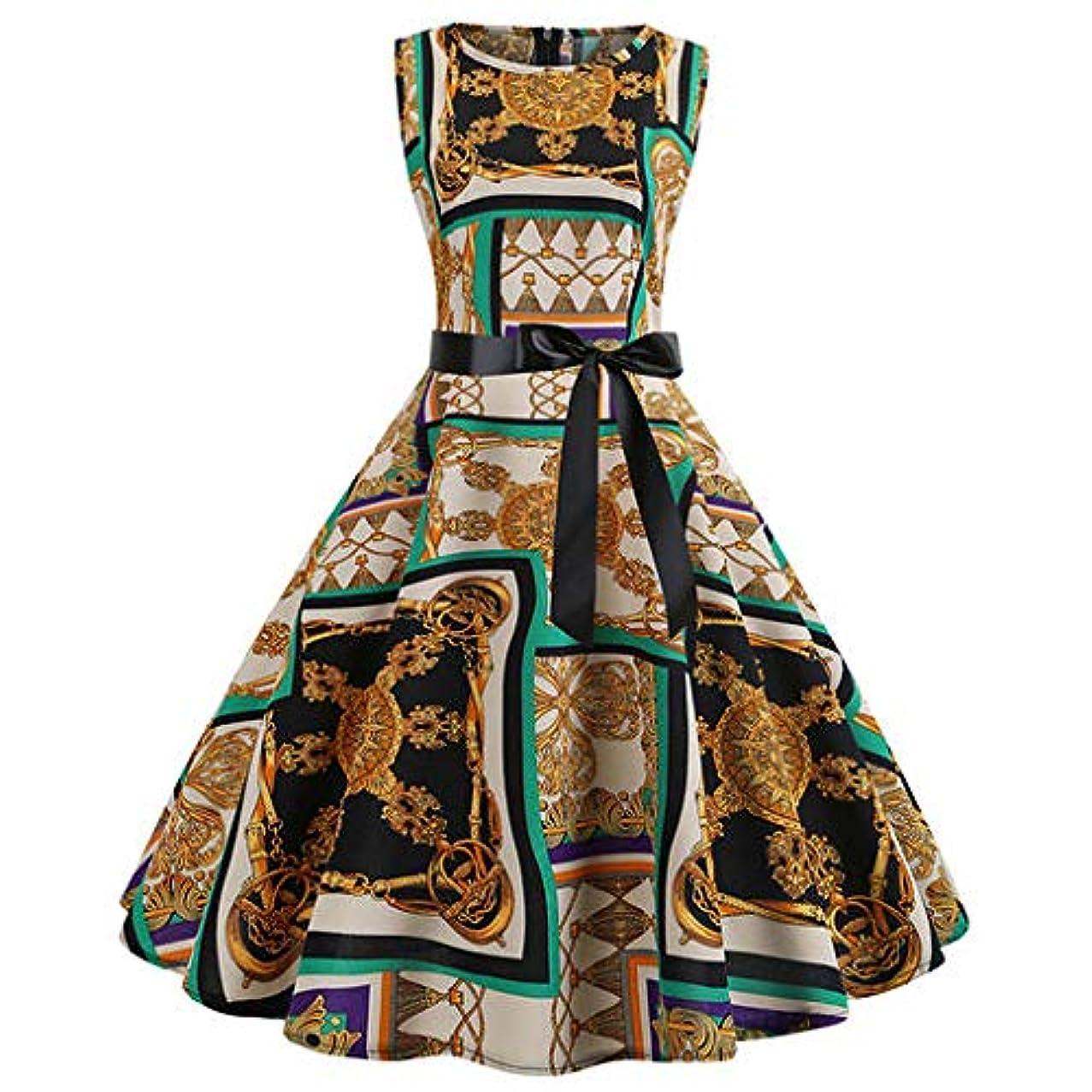 The Best Easter Gift!!!Women's Hepburn skirt Aries Esther Women Vintage 1950s Retro Sleeveless O Neck Print Evening Party Prom Swing Dress Yellow