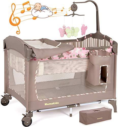 Birtech Reisebett Babybett Klappbar Kinderbett mit Stubenwagen Wickeltisch Rädern Bremse Tragetasche Kindergarten für Jungen und Mädchen mit Spielzeug und Musik Rosa