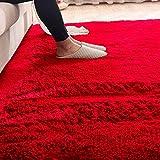Ilios Innova Tapete Decorativo Tipo Shag 2mx3m, de Fibra Larga, Suave y Caliente Ideal para Sala, recamara, tapete para la Sala, facil de Limpiar, Material Ligera (Rojo)