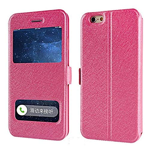 GHC Fundas y fundas para iPhone 7, 8, 6S Plus X, de lujo, con ventana frontal, tapa de piel, para iPhone XR, XS, Max 6 Plus, 5S, SE 4S (color: rojo rosa, material: para iPhone 6 y 6s)
