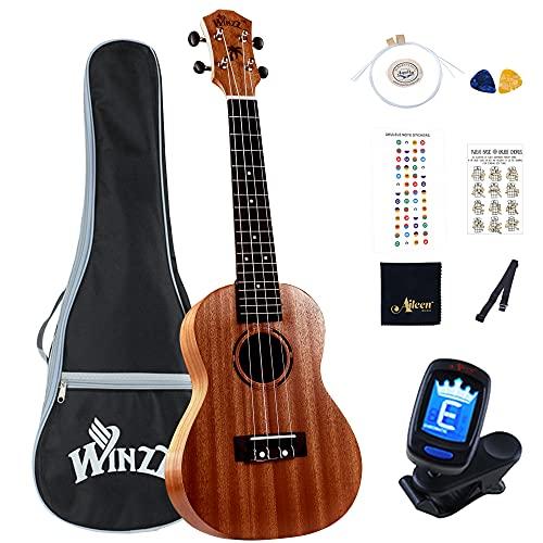 Winzz Concierto Ukelele de Caoba 23 Pulgadas con Cuerdas Aquila de Nylon Kit de Iniciación para Principiantes con Bolsa, Sintonizador, Cuerdas Extras, Correa, Púas y Otros Regalos