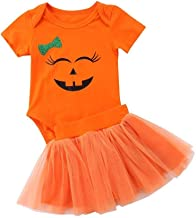 Happy Town Baby Girl Halloween Costumes Pumpkin Smiles Short Sleeve Bodysuit Tutu Skirt Bowknot Dress Outfits
