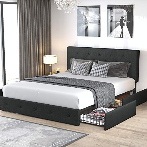 Allewie Queen Platform Bed Frame with 4 Drawers and Headboard/Diamond Stitched Button Tufted Upholstered Mattress Foundation with Storage, Dark Grey