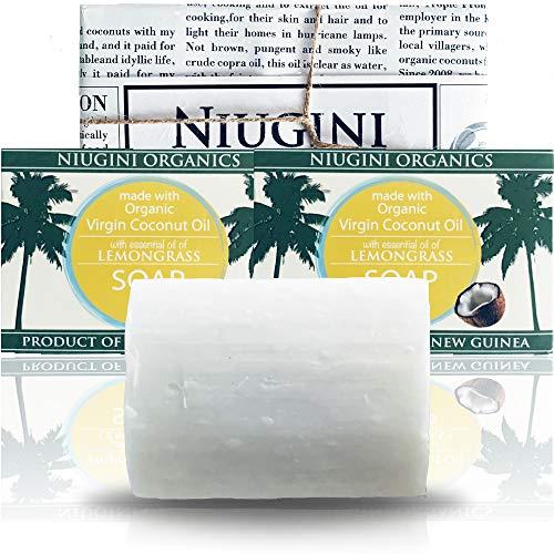 2 x Die Reinste Kokosseife DER WELT Aus 100% Bio Kokosöl Mit Zitronengrasduft | 100% Vegane Naturseife | Fairtrade | Nachhaltige Produktion | Ohne Palmöl | Zitronengras, 2 x 100g