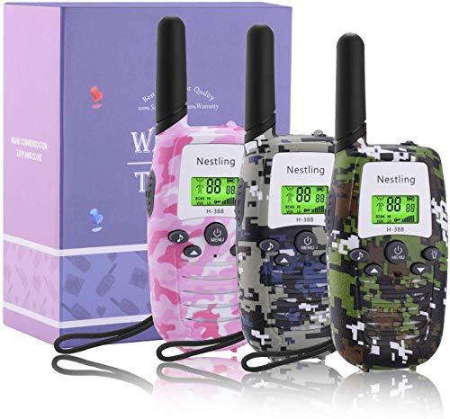 Nestling Walkie Talkie 3 Pack, Radio bidirectionnelle Longue portée pour l'extérieur avec écran LCD rétroéclairé et Lampe de Poche pour Enfants, Aventures en Plein air, Camping, randonnée