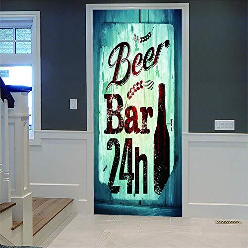YUXAOYFAK 3D Selbstklebend Türposter 24-Stunden-Bar Relief Selbstklebend Wasserdicht PVC Türposter Türaufkleber Wandtattoo, Wohnzimmer, Schlafzimmer Dekoration