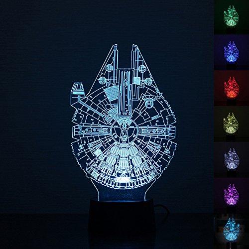 3D Illusion Licht, 7 Modelle Touch Control Optical Illusion LED Nachtlicht mit Ladekabel für Wohnkultur, Kinder, Star Wars Fans (Millennium Falcon)