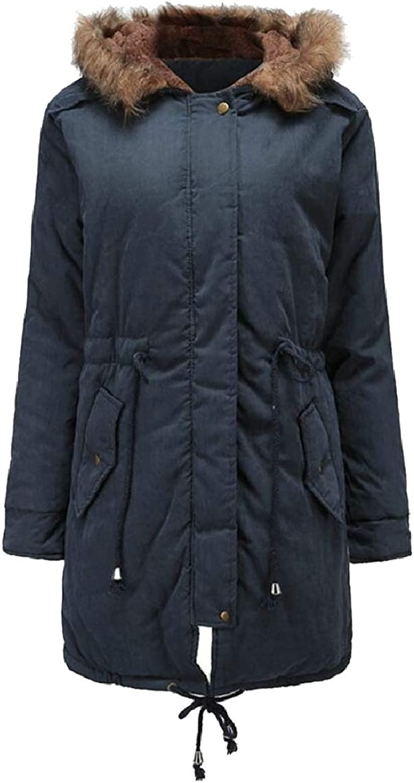 ZXFHZSCA Womens Padded Parka FauxFur Collar with Hood Tie Knot Down Jacket Coat