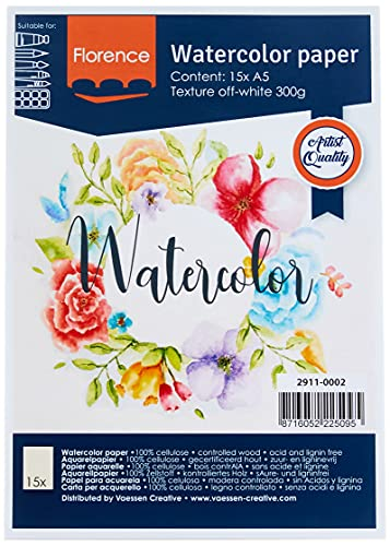 Vaessen Creative Florence Papel de Acuarela Superficie Texturizada, 300 GSM, Blanco (Off-White), A5