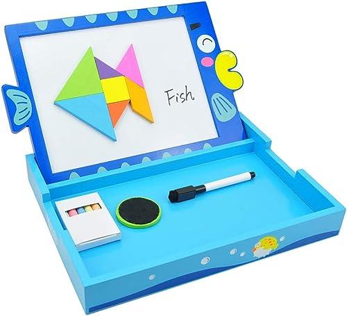 Zeichentafeln Kinderheimtafel-Rei ett, doppelseitiges magnetisches Lernbrett, Babyzeichnungsbrett (Farbe   Blau, Größe   22.3  29.7  3.4cm)