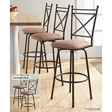 All Purpose Mainstays Adjustable Metal Swivel Barstools, Antique Brass, Set of 3