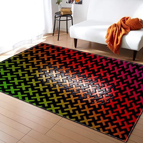 ZQYR# 3D Alfombra de Diseño Moderna para Sala de Estar, Dormitorio, Sala de Yoga, Sala de Estudio, Cuadrados de Colores del Cubo de Rubik, Tamaño:200X150cm,E,160x120cm