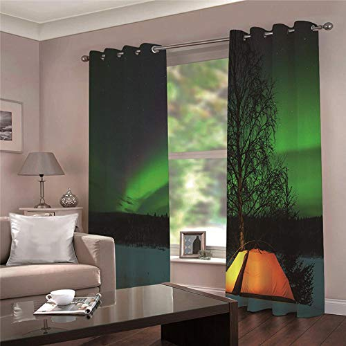 YMLJH 3D Verdunkelungsvorhang Outdoor Camping & Aurora Ansichten 2 x B117 x H138cm Schwerer Verdunkelungsvorhang Thermovorhang lichtdicht für Wohnzimmer Schlafzimmer Küche