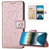 Compatible avec Samsung Galaxy S20 Plus Coque en Cuir PU à Rabat Portefeuille Etui,Brillante Glitter Paillette Strass Fleurs Cerisier Chat Magnétique Wallet Flip Case pour Galaxy S20 Plus,Or rose