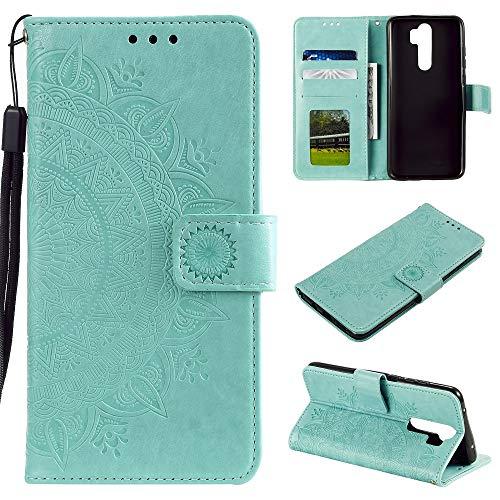CoverKingz Handyhülle für OnePlus 8 Pro - Handytasche mit Kartenfach OnePlus 8 Pro Cover - Handy Hülle klappbar Motiv Mandala Grün