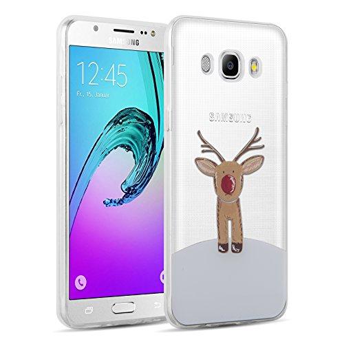 JAMMYLIZARD Samsung Galaxy J5 2016 Hülle Transparente Schutzhülle Gel Weihnachts-Sketch Back Cover Hülle aus Silikon, Rudolf
