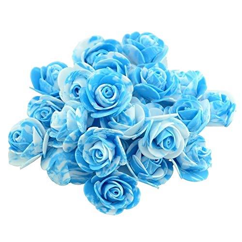 CHUNJIANGSHUI Flores Falsas 10 Unids/Lote 3.5 Cm Mini PE Espuma Artificial Rose Flower Head Scrapbooking For Boda DIY Decoración del Hogar Flores Falsas Hechas A Mano (Color : Blue)