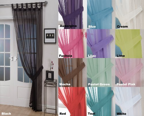 John Aird Woven Voile Tab Top Curtain Panel - Free Tieback Included (Black, 60' Wide x 72' Drop)