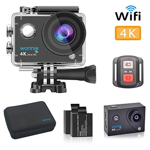 WONNIE 4K Sports Action Camera Ultra HD WiFi Remote Control, 30m Waterproof Camera 170°Wide-Angle Shooting with 2 Pcs Rechargeable Batteries and Accessories Sets
