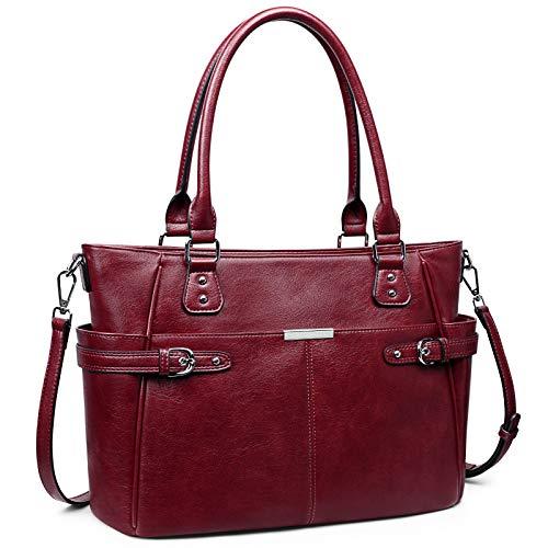 S-ZONE Bolso de mano de cuero de la PU para las mujeres Bolso grande del trabajo del bolso del hombro con bolsillo delantero grande, rojo (rojo vino), Large