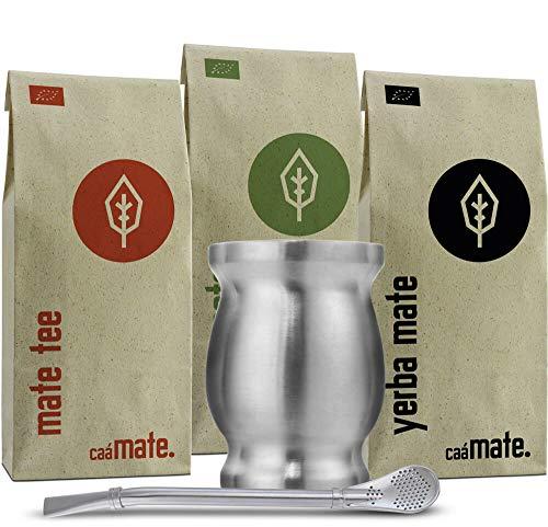 Mate Tee Set Bio ● 3 Matesorten + doppelwandiger Edelstahl Matebecher + Bombilla + Zubereitungsanleitung (silber)