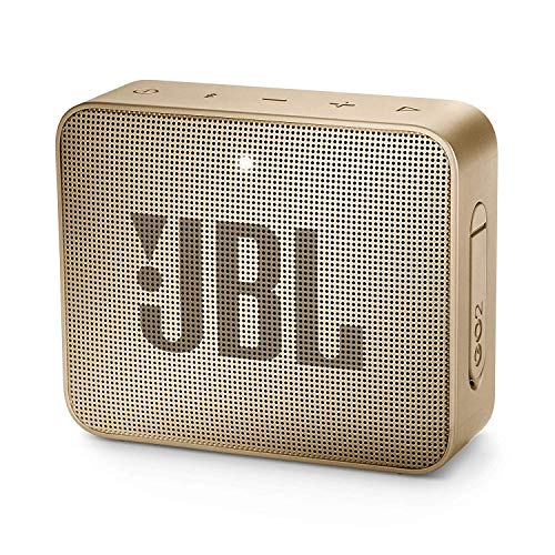 JBL GO 2 - Altavoz inalámbrico portátil con Bluetooth, resistente al agua (IPX7), hasta 5 h de reproducción con sonido de alta fidelidad, color champagne
