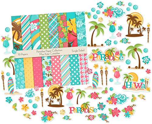 Die Cuts & Paper Set - Paradise - by Miss Kate Cuttables - 16 Single - Sided 12x12 Premium Specialty Paper Sheets & Over 60 Coordinating Die Cuts