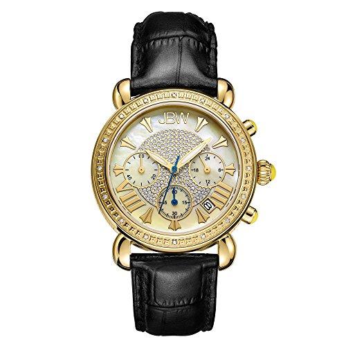 JBW Luxury Women's Victory 0.16 Carat Diamond Wrist Watch with Leather Bracelet