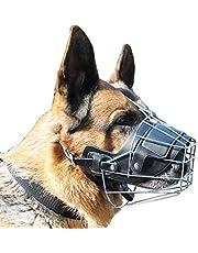 Bozales para perros Piel de bozal de perro antirreflejante ajustable, máscara de mascarilla de bozal para cachorros de mascotas transpirable de seguridad para morder y ladrarMetálico y cortez