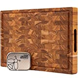 Ziruma End Grain Prime Teak Wood Cutting Board Cured with Pure Beeswax and Natural Oils 17x11 x 1.5 in Butcher Block - 2oz of Extra Wood Moisturizer Included