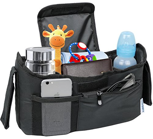 Deluxe Stroller Organizer Universal Fit for All Strollers Multiple Pockets Zipper and Phone Pocket Deep Insulated Cup Holders Black