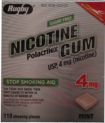 Nicotine Gum 4mg Sugar Free Mint Generic for Nicorette 110 Pieces per Box