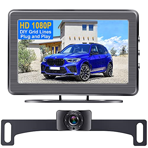 Backup Camera for Car HD 1080P with LCD Monitor Rear View Camera Plug and Play System for Car Truck SUV Van IP69 Waterproof 7 LED Night Vision DIY Guidelines DoHonest S01